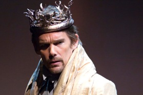 "This image released by Lincoln Center Theater shows Ethan Hawke during a performance of ""Macbeth, in New York. (AP Photo/Lincoln Center Theater, T Charles Erickson)"