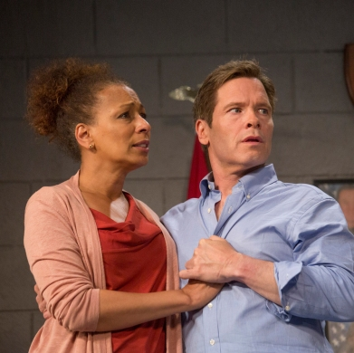 "TV's Tamara Tunie (Law & Order: SVU) stars as Kendra Ellis-Connor opposite Broadway's Michael Hayden as Scott Connor, in the world premiere play ""American Son"" at Barrington Stage through July 9. Photos by Scott Barrow."
