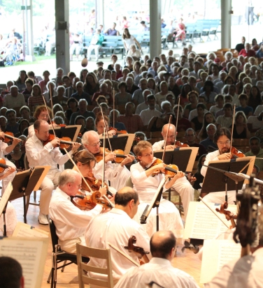 Inside the Shed with the Orchestra. Photo by John Ferillo.