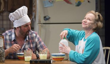 "Chris Thorn (Buddy) and Debra Jo Rupp (Kimberly) in a scene from ""Kimberly Akimbo"". Photo by Scott Barrow."