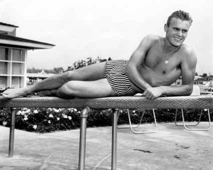 Tab Hunter in the era where swimmer's builds were the hot look.
