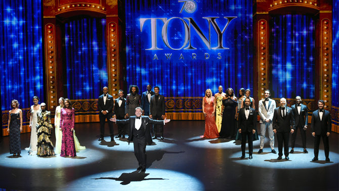 James Corden performs at the opening of the Tony Awards at the Beacon Theatre on Sunday, June 12, 2016, in New York. (Photo by Evan Agostini)