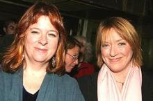 Theresa Rebeck (l) and Kristine Nielsen (r).