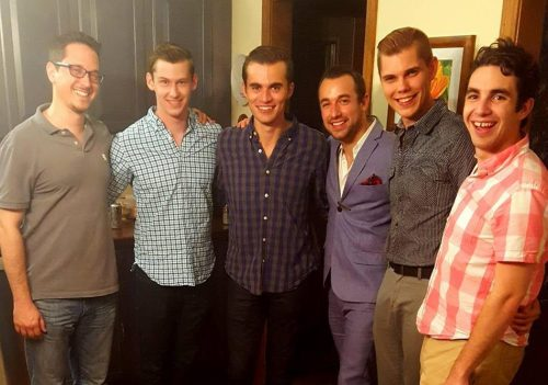 (l to r) Musical Director Matthew Russell, Ricky Gee (Sparky), Andrew Martinelli (Jinx), director Trey Compton, Joey Alan (Frankie), and Andrew Pace (Smudge).