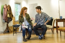 Mary Wiseman (L) and Justin Long (R) in rehearsal together for the world premiere of Romance Novels for Dummies by Boo Killebrew. Photo by Daniel Rader.