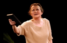 "Annette Miller as Golda Meir in ""Golda's Balcony"" at Shakespeare & Co. Photo by Enrico Spada."