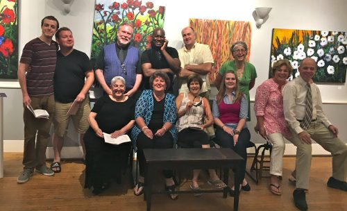 (l to r) Cast: back row: Jerry Greene, Will Gallagher, Jon Marks, Jean-Remy Monnay, Joe Starzyk, Jackie DeGiorgis. front row: Patricia Duckworth, Deborah Mazzone, Mary Daigneault, Kelsy Nevins, Nancy Hammell, Bill Douglas. Missing: Leah Marie Parker.