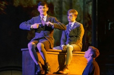 Spring Awakening: (l to r) Joshua Castille, Andy Mientus, Daniel Stewart. Photo by Joan Marcus.