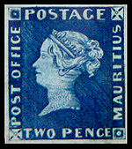 "The blue ""Two Pence Post Office"" stamp."