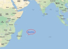 The tiny speck that is Mauritius located in the Indian Ocean east of Madagascar.