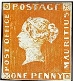 "The orange ""One Penny Post Office"" stamp."