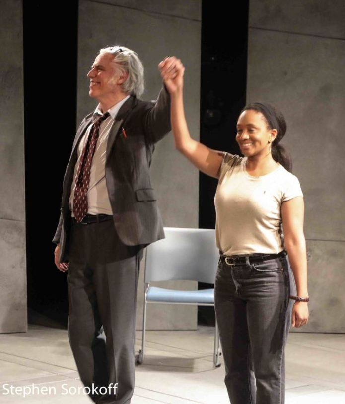 "Curtain call for ""Kunstler"" at BSC this past May. Jeff McCarthy and Erin Roché. Photo: Stephen Sorokoff."