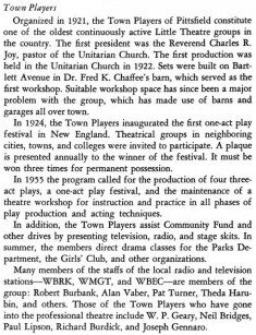 "History of the Town Players of Pittsfield from ""The history of Pittsfield, Massachusetts, 1916-1955"" by George Findlay Willison"