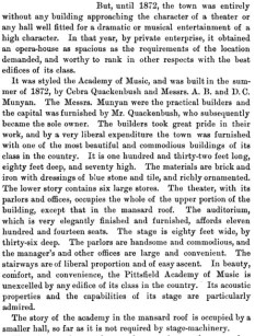 "About the Pittsfield Academy of Music, from ""The History of Pittsfield (Berkshire County), Massachusetts: From the year 1800 to the year 1876"" by J. E. A. Smith."