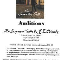 "Schnectady Civic Players Auditions for ""An Inspector Calls"""