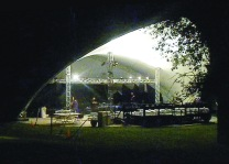 The old PS21 tent at night.