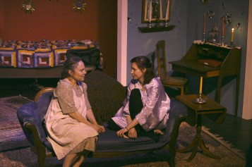 Miss Helen Martins (Jeannine Haas) and Elsa Barlow (Mo Mosley) chat.