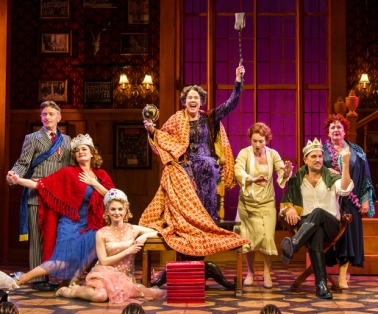 "Arnie Burton, Laura Michelle Kelly, Hayley Podschun, Harriet Harris, Holly Ann Butler, Will Swenson & Kathryn Fitzgerald in costumes by Alejo Vietti for ""The Royal Family of Broadway."""