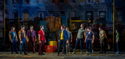 "Sean Ewing, Tyler Hanes, and the cast of Barrington Stage Company's production of ""West Side Story."" Photo by Daniel Rader."