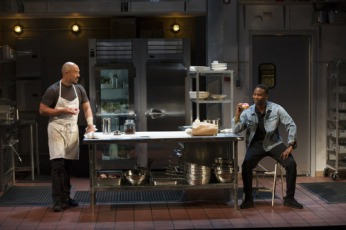 "Hoon Lee as Harry and W. Tré Davis as Rodney in Theresa Rebeck's ""Seared"" at Williamstown Theatre Festival. Photo Daniel Rader."