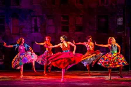 "Sarah Crane, Magdalena Rodriguez, Skyler Volpe, Tamrin Goldberg, and Jerusha Cavazos in the Barrington Stage Company production of ""West Side Story"" choreographed by Robert La Fosse. Photo by Daniel Rader."