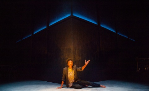"Samira Wiley as Pretty Mbane in ""Dangerous House."" Lighting design by Lap Chi Chu. Photo Carolyn Brown."