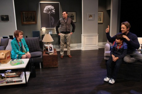 "Annette Miller, Bill Mootos, David Gow and Hayden Hoffman in ""Mothers and Sons."" Photo by Eloy Garcia."