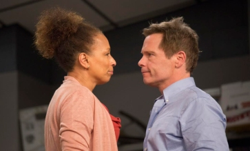 """Tamara Tunie and Michael Hayden as Scott Connor in """"American Son"""" at Barrington Stage in 2016. Photo by Scott Barrow."""