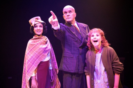 "George Dvorsky as Oliver ""Daddy"" Warbucks with Corinne Tork as Grace Farrell, and Annabel Feigen as Annie. Photo Credit: Sarah Kozma"